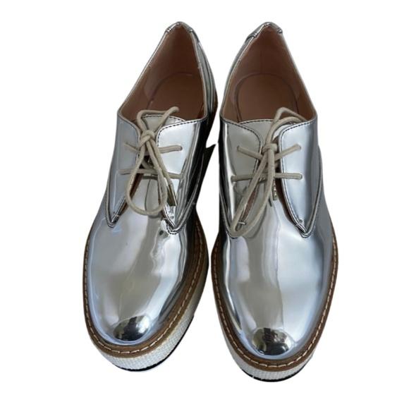 Zara Metallic Silver Platform Oxfords Size 8